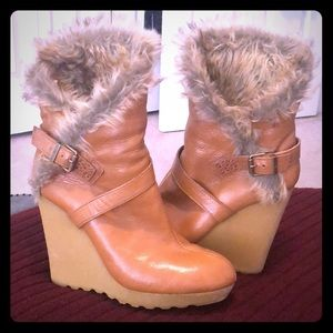 7 for all Mankind camel color wedge boots